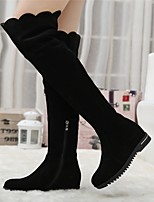 Women's Shoes Fleece Low Heel Round Toe / Closed Toe Boots Office & Career / Dress / Casual Black