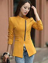 Women fall clothing zipper coat of cultivate one's morality In the long leisure small suit pure color outwear women coat