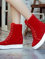 Women's Shoes Flange All Match Frosted Platform Comfort / Round Toe Boots Athletic / Casual Black / Red
