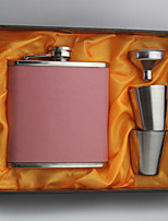 The Stainless Steel Pink/Blue Leather Flasks 6-oz  Flask Set Thanks