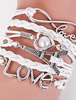 Men's White Towel/Love Braided/Cord Leather Handmade Multilayer Charm Bracelet Unisex