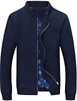 Men's Fashion Stand Collar Solid Casual Slim Fit Long Sleeve Jacket