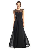 Fiesta formal Vestido - Negro Corte A Hasta el Suelo - Escote Joya Gasa