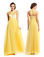 TS Couture Formal Evening Dress - Daffodil A-line Jewel Floor-length Tulle / Charmeuse