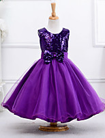 Girl's Dresses Sleeveless Round Collar Sequins Bow Mesh One Piece Princess for Wedding Party (Cotton)