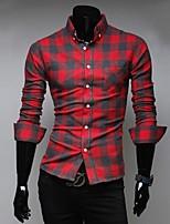 Men's Long Sleeve Shirt , Cotton Casual Striped