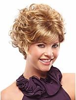 Blonds courtes synthétiques perruques d'onde de vrais cheveux de haute qualité