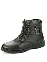 Men's Boots Fall Winter Comfort Leather Office & Career Casual Party & Evening Black Brown