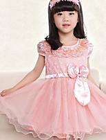 Girl's Pink / Beige Dress , Bow Spandex Summer