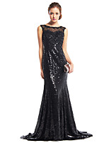 TS Couture Formal Evening Dress - Black Trumpet/Mermaid Scoop Sweep/Brush Train Sequined