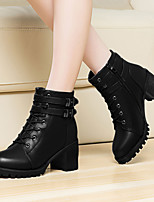 Women's Shoes Leather Chunky Heel Round Toe Boots Wedding / Dress / Casual Black / Gray