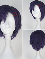 touken YIM Po Akashi kuniyuki korte paars anime cosplay pruik met rode haarspeld