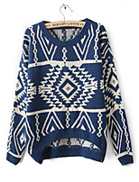 Women's Jacquard Blue / Red / Black / Beige Pullover , Casual Long Sleeve