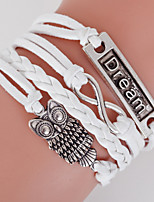Men's White Owl/Dream Braided/Cord Leather Handmade Multilayer Charm Bracelet Unisex