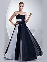 저녁 정장파티 드레스 - 잉크 블루 A-라인 바닥 길이 스윗하트 쉬폰