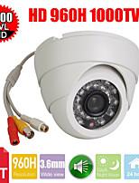 cctv 3.6mm 1000tv 24ir leds D / n 1/3 CMOS ir-cut koepel indoor beveiliging audio camera
