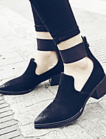 Women's Shoes Leather Chunky Heel Heels / Novelty Heels Casual Black / Brown