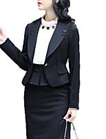 Women's Solid Black Blazer , Work Shirt Collar Long Sleeve