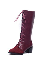 Women's Shoes Low Heel Fashion Boots / Round Toe / Closed Toe Boots Office & Career / Dress Black / Brown / Burgundy