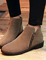 Women's Shoes Leatherette Flat Heel Round Toe Boots Outdoor / Casual Black / Khaki