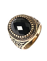 Men's Retro Domineering Style Oval Multi-slice Alloy Agate Inlaid Rings