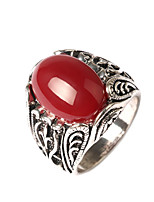 Women's Luxury Style Oval Polished Surface Alloy Agate Inlaid Ring