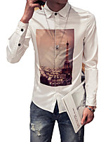 Men's Fashion Casual Single Breasted Long Sleeved  Personality Printing Shirt Plus Sizes