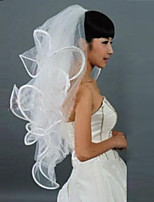 White / Ivory Wedding Veil Four-tier Blusher Veils / Fingertip Veils Ribbon Edge With Comb