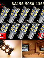 10x Warm White Ba15s 1156 RV Reverse 13 LED SMD Car Rear Turn Light Signal Bulbs