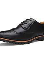 גברים-נעלי אוקספורד-עור-נעלי בולוק-שחור חום בהיר-משרד ועבודה יומיומי מסיבה וערב-עקב שטוח