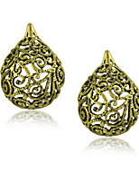 Unique Carving Hollow Out Design Vintage Earrings Jewelry