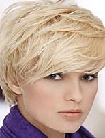 femmes dame blond droite courts perruques de cheveux synthétiques
