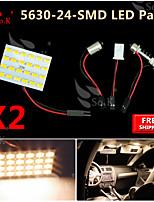 2X  Warm White 5630 24 SMD Panel Map Dome Interior Light+ Festoon T10 BA9S Adapter