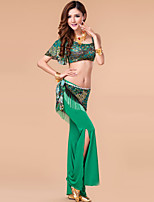 Belly Dance Outfits Women's Performance Milk Fiber Draped 3 Pieces Green