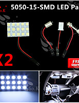 2X   White 5050 LED 15 SMD Panel Map Dome Interior Light+ Festoon T10 BA9S Adapter