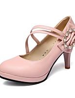 Women's Shoes Leatherette Stiletto Heel Heels / Round Toe Heels Outdoor / Dress / Casual Black / Blue / Pink / White
