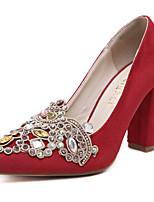 Черный Красный-Для женщин-Для офиса Для праздника Повседневный-Флис-На толстом каблукеОбувь на каблуках