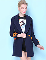 Women's Casual/Daily Street chic Coat,Solid Notch Lapel Long Sleeve Fall Blue Polyester Opaque