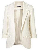 Women's Solid Blue / Pink / White / Black / Green / Orange / Yellow Blazer , Casual / Work V Neck ¾ Sleeve