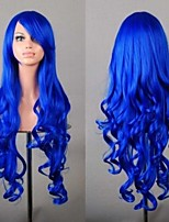 Party Fashion Hair Synthetic Wigs Cheap Blue Cosplay Wig 80 cm