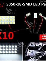 10X   White 5050 LED 18 SMD Panel Map Dome Interior Light+ Festoon T10 BA9S Adapter