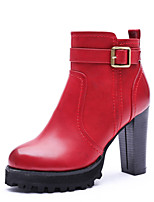 Women's Shoes Leatherette Chunky Heel Fashion Boots Boots Outdoor / Dress / Casual Black / Red / Gray