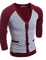 Herren Standard Strickjacke-Lässig/Alltäglich Einfach Solide Weiß Schwarz Grau V-Ausschnitt Langarm Baumwolle Herbst Winter Mittel