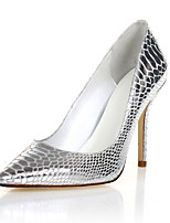 Women's Shoes Leather Stiletto Heel Heels / Pointed Toe Heels Party & Evening / Dress / Casual White / Silver