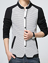 Men's Long Sleeve Casual Jacket,Cotton / Polyester Striped / Solid / Patchwork Blue / White HXTX-5327