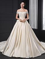 A-line Wedding Dress - Champagne Chapel Train Off-the-shoulder Satin
