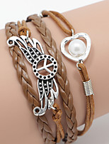 Men's Brown Peace/Pearl Braided/Cord Leather Handmade Multilayer Charm Bracelet Unisex