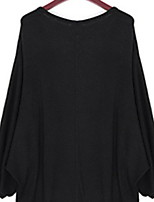 Women's Solid Black Pullover , Casual Long Sleeve
