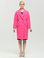 Women's Solid Pink Coat , Casual Long Sleeve Polyester