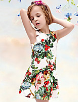 Girl's Green Dress , Floral / Dresswear Cotton / Polyester All Seasons